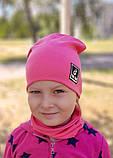 Детская шапка с хомутом КАНТА размер 52-56, розовый (OC-286), фото 2