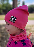Детская шапка с хомутом КАНТА размер 52-56, розовый (OC-286), фото 3