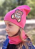 Детская шапка с хомутом КАНТА размер 48-52, розовый (OC-288), фото 2