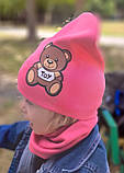 Детская шапка с хомутом КАНТА размер 48-52, розовый (OC-288), фото 3
