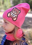 Детская шапка с хомутом КАНТА размер 48-52, розовый (OC-288), фото 4