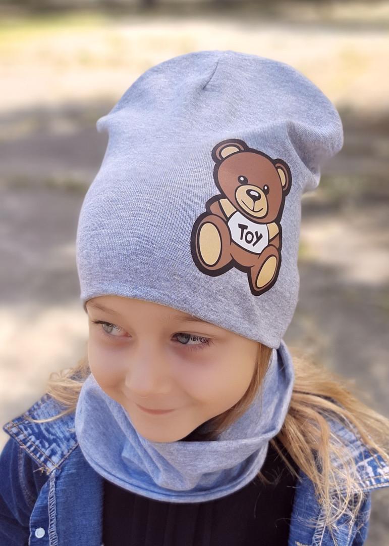 Детская шапка с хомутом КАНТА размер 52-56, серый (OC-298)