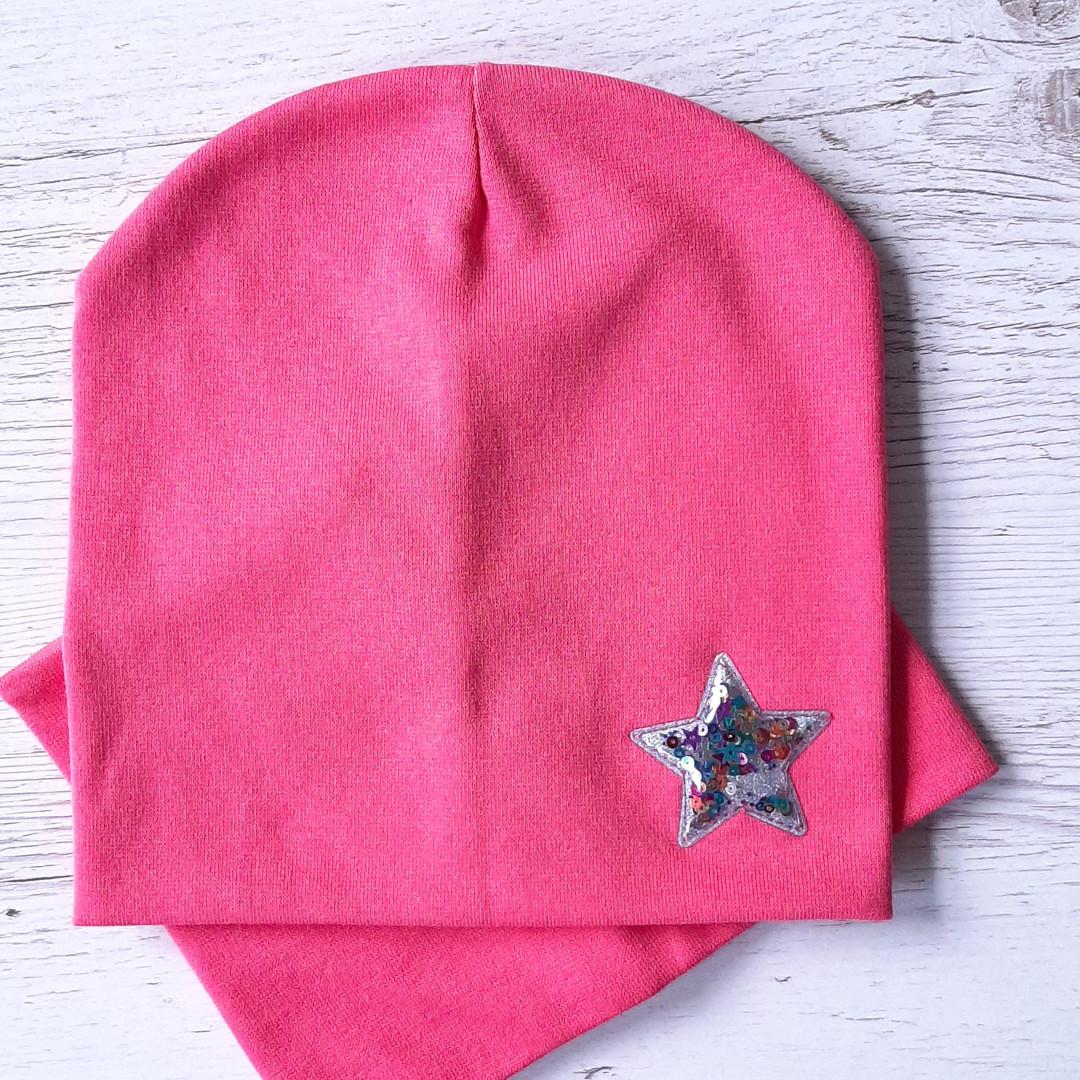 Детская шапка с хомутом КАНТА размер 52-56, розовый (OC-313)