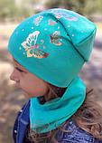 Детская шапка с хомутом КАНТА размер 52-56, бирюзовый (OC-349), фото 5