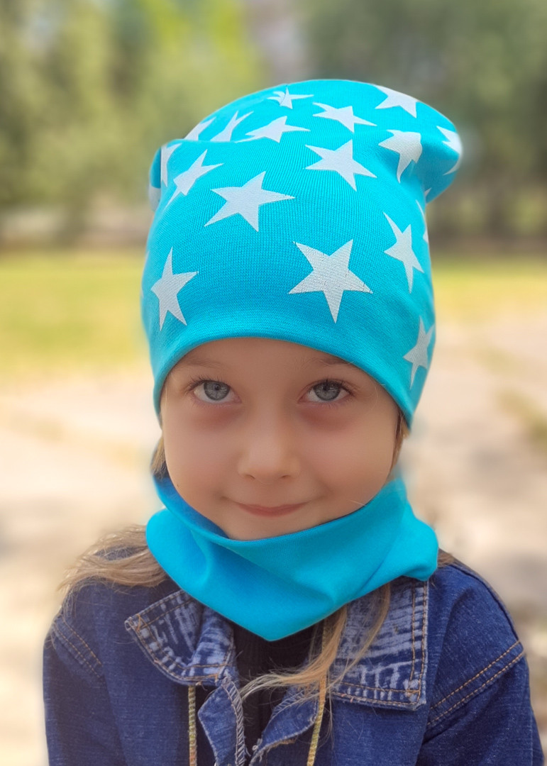 Детская шапка с хомутом КАНТА размер 48-52, голубой (OC-357)