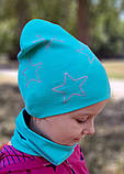 Детская шапка с хомутом КАНТА размер 48-52, бирюзовый (OC-372), фото 3