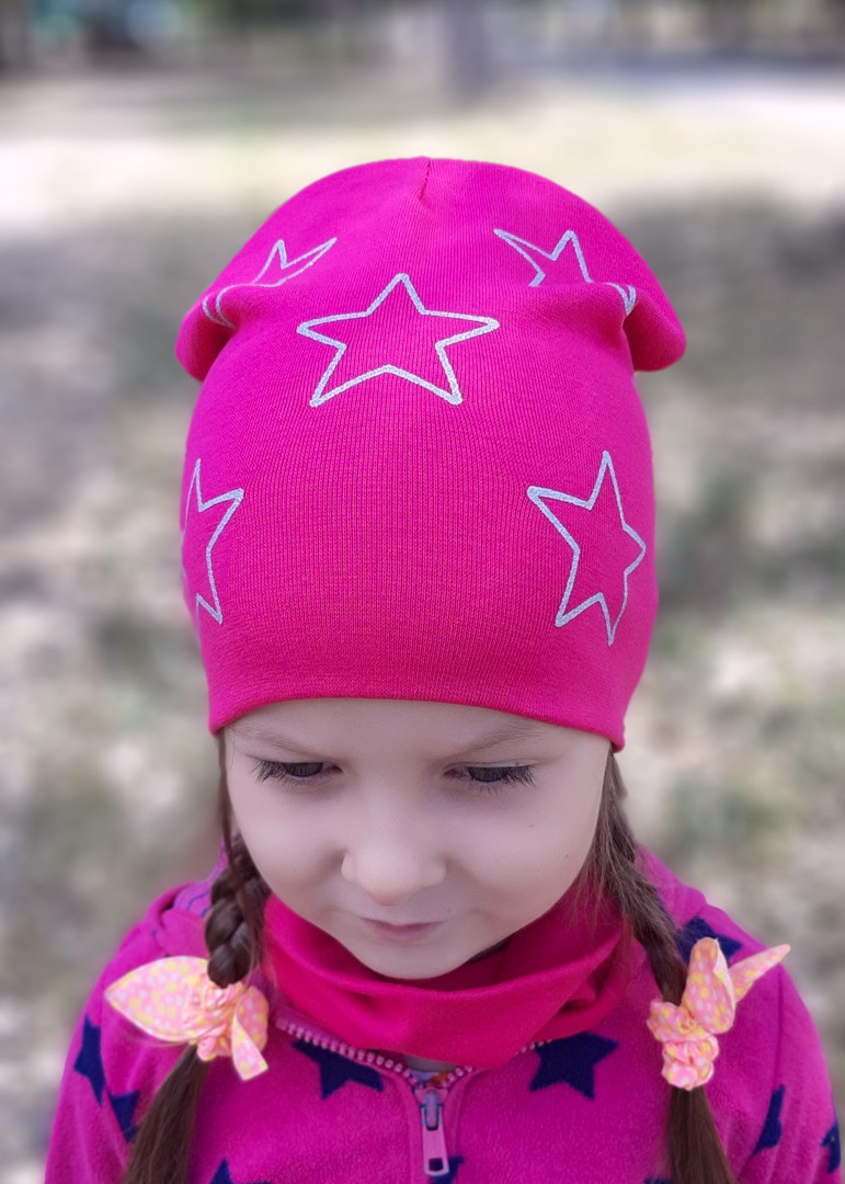 Детская шапка с хомутом КАНТА размер 48-52, малиновый (OC-375)