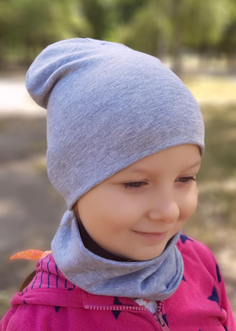 Детская шапка с хомутом КАНТА размер 48-52, серый (OC-384)