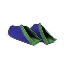 Тапочки для дома и бани войлочные Luxyart Цветные большие, размер 40-46, синий с зеленым(LS-148)
