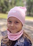 Детская шапка с хомутом КАНТА размер 52-56, розовый (OC-396), фото 7