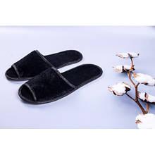 Тапочки велюровые для дома/отеля Luxyart, черный, открытый носок, в упаковке 20 шт (ZF-137)