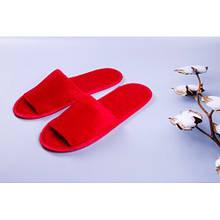 Тапочки велюровые для дома/отеля Luxyart, красный, открытый носок, в упаковке 20 шт (ZF-138)