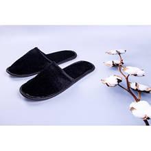 Тапочки велюровые для дома/отеля Luxyart, черный, закрытый носок, в упаковке 20 шт (ZF-139)