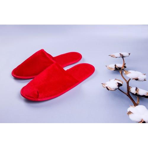 Тапочки велюровые для дома/отеля Luxyart, красный, закрытый носок, в упаковке 20 шт (ZF-140)