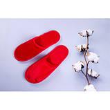 Тапочки велюровые для дома/отеля Luxyart, красный, закрытый носок, в упаковке 20 шт (ZF-140), фото 2