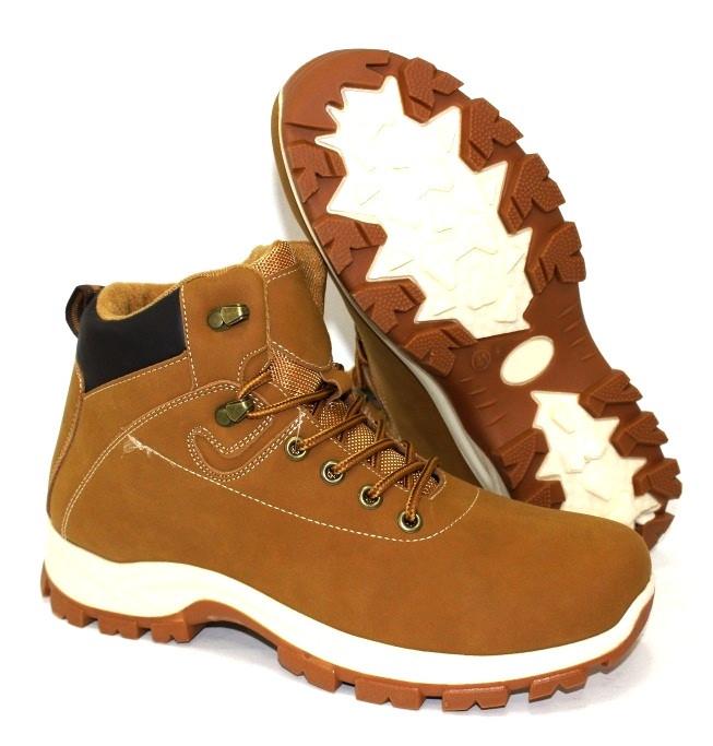 Мужские ботинки на толстой подошве рыжие для зимы