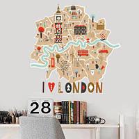 Интерьерная виниловая наклейка на стену Лондон (карта лондона, цветной биг-бен)