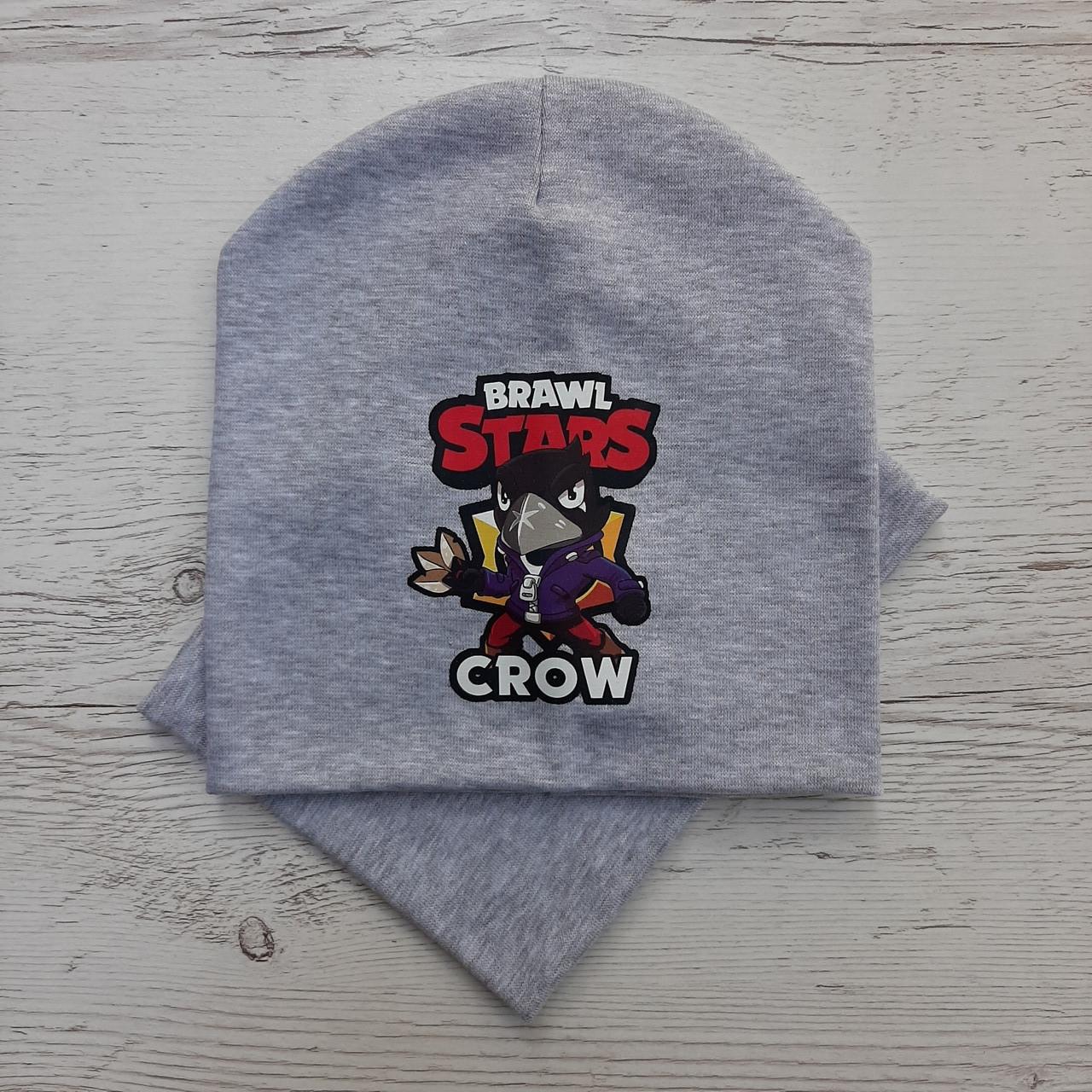 Детская шапка с хомутом КАНТА размер 48-52, серый (OC-527)