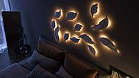 3Д панели из гипса с подсветкой LED Листья