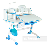 Парта трансформер для школьника для дома FunDesk Amare II Blue с выдвижным ящиком, фото 3
