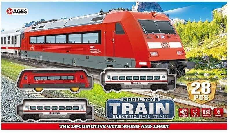 Детская железная дорога JHX 8812 с поездом и тремя вагонами, со световыми и звуковыми эффектами (28 элементов)