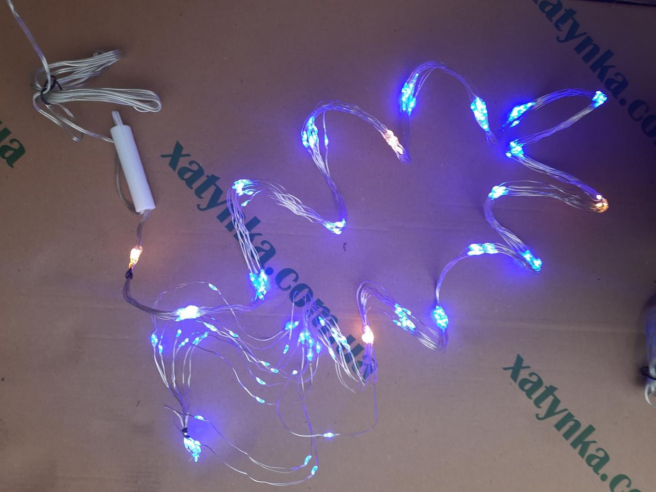 Новогодняя светодиодная гирлянда ПУЧОК-РОСА 240LED, 10 линий по 2.4м. синий (с мерцанием)