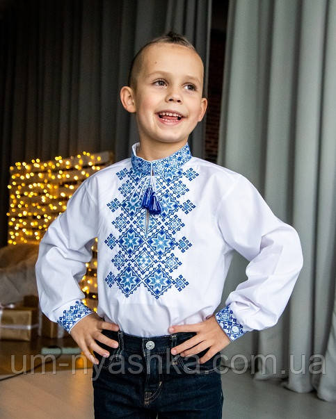 синяя вышиванка для мальчика