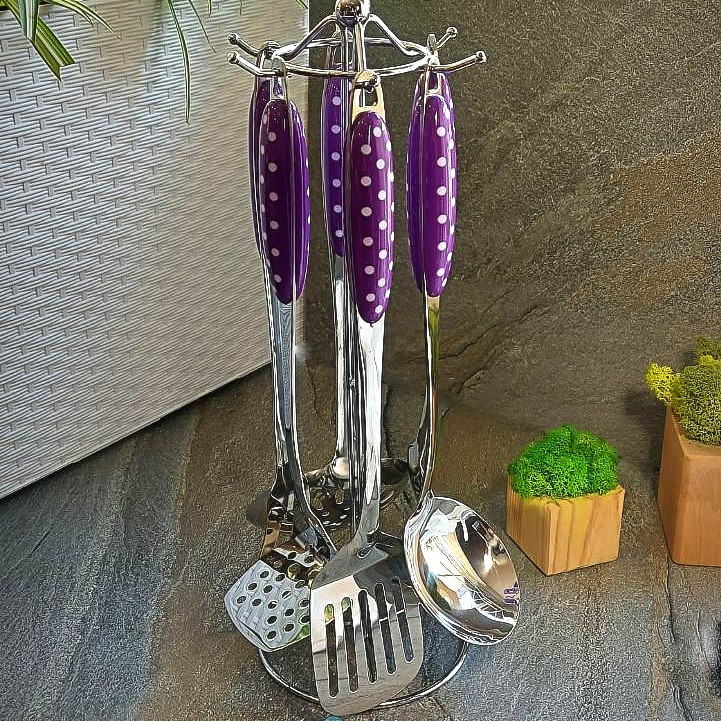 Набір кухонного приладдя на стійці, фіолетові ручки в горошок