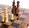 Шахматы, шашки, нарды 3 в 1 бамбуковые B 3135 (фигурки-дерево, доска 34x34 см), фото 5
