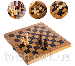 Шахматы, шашки, нарды 3 в 1 бамбуковые B 3135 (фигурки-дерево, доска 34x34 см)