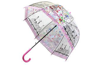Прозрачный зонт трость для детей, полуавтомат со свистком ручка розовая. Рисунок Super Girl.