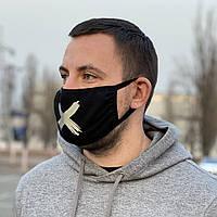 Захисна маска для обличчя, темно-синій колір, багаторазова з принтом жовтого кольору Virus-Cobra, колір Navi