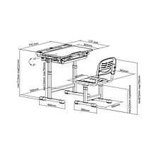 Эргономический комплект Cubby парта и стул-трансформеры Vanda Grey