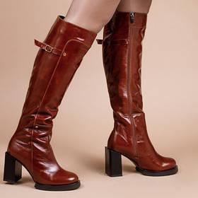 Высокие сапоги на молнии рыжие кожаные ботфорты 35-41
