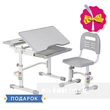 Растущая парта + стульчик для школьника Fundesk Lavoro Grey