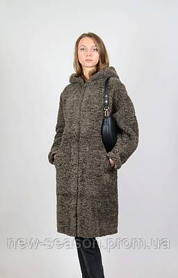 Женское пальто Queen's Wardrobe J10019 эко овчина шоколад