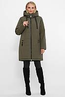 Женская теплая куртка пуховик на зиму цвет хаки большие размеры