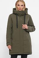 Женская зимняя короткая куртка пуховик с капюшоном цвет хаки большие размеры
