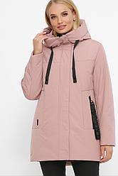 Женская теплая зимняя куртка короткая с капюшоном утеплитель шерсть цвет пудра большие размеры