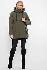 Женская зимняя короткая куртка с капюшоном наполнитель шерсть цвет хаки большие размеры