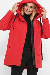 Женская зимняя куртка короткая красная большие размеры