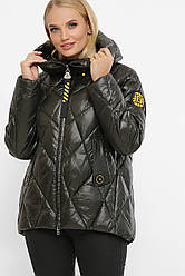 Короткая женская зимняя куртка стеганая с капюшоном цвет хаки с желтой подкладкой большие размеры