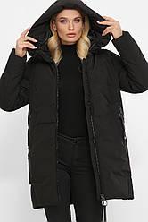 Женская зимняя короткая куртка большие размеры черная