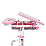 Зростаюча парта для дівчинки Cubby Fressia Pink + Настільна світлодіодна лампа Cubby, Підставка для книг, губка, фото 3