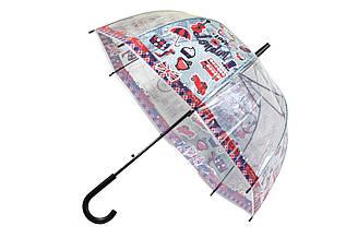 Прозрачный зонт трость для детей, полуавтомат со свистком, ручка черная. Рисунок лондонская тематика..