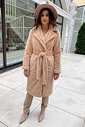 Брендовое зимнее пальто из искусственной норки Саманта 8641