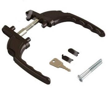 Ручка двухсторонняя на балконную ПВХ дверь с ключом узкая прямая Planet коричневая RAL 8019