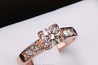 Позолоченное кольцо с кристаллами р 19 код 820
