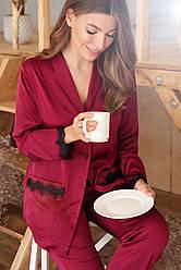 Шелковая домашняя рубашка женская с кружевом бордовая Долорес