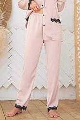 Жіночі домашні штани з шовку армані колір пудра